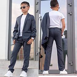 Костюм школьный классика пиджак+брюки клетка для мальчика серый 116-146