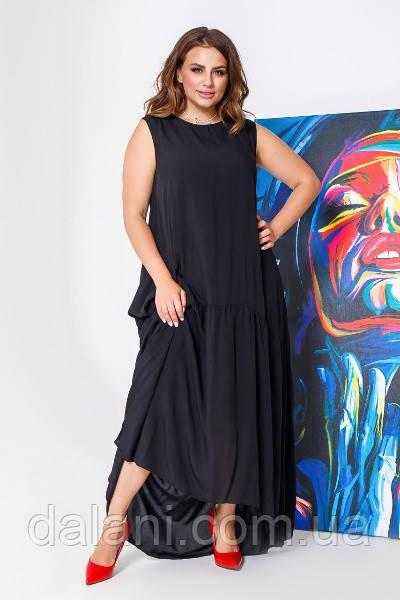 Женское черное ярусное платье свободного кроя большие размеры