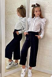 Белая рубашка для девочки в школу длинный рукав