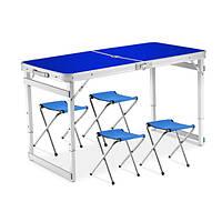Стол для пикника раскладной Folding Table, 4 стула, синий