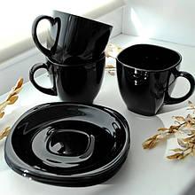 Чёрный чайный набор чашек с квадратными блюдцами Luminarc CARINE Black 6х220 мл (p4672)