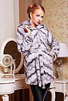 Шуба женская Франческа эко мех норки серая волна, магазин шуб