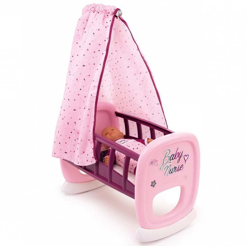 Кроватка с балдахином для куклы Baby Nurse Smoby, 18м+ (220338)