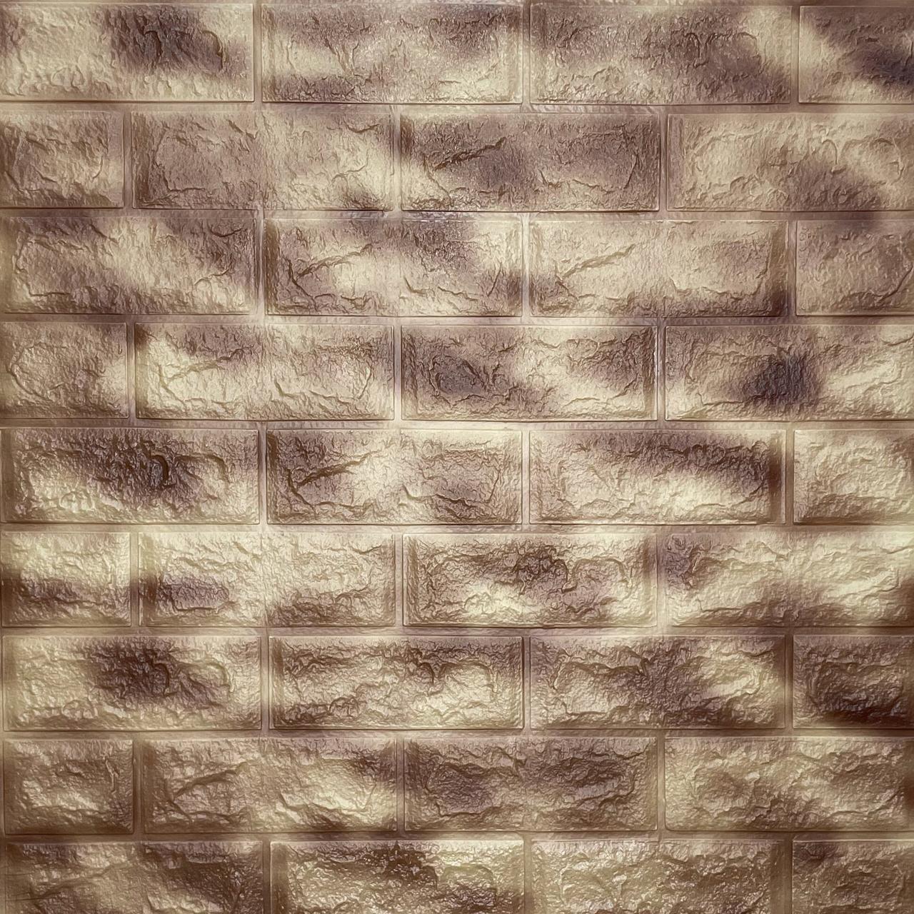 Декоративна 3D панель самоклейка під цеглу Коричневий з золотом Мармур 700х770х5мм
