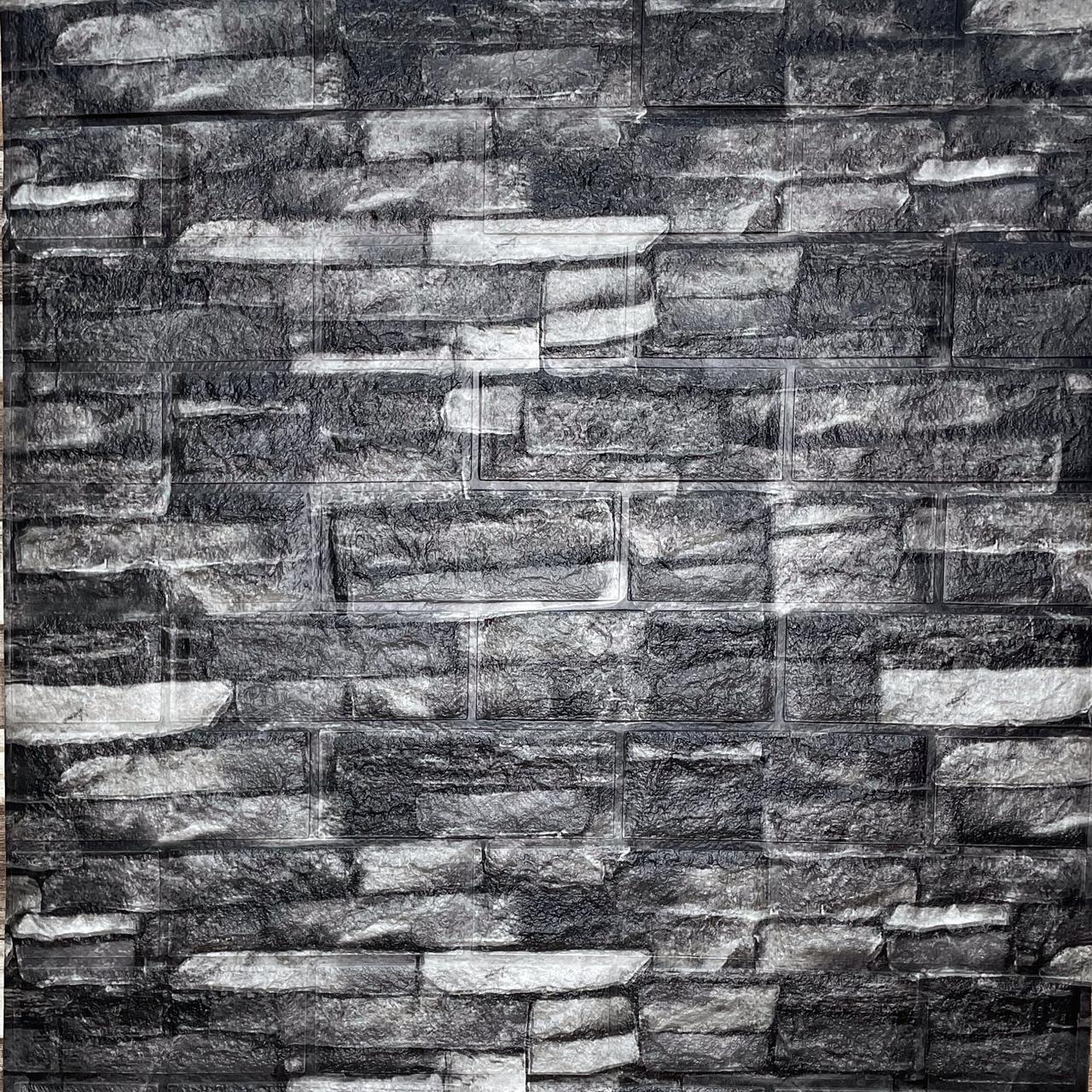 Самоклеюча декоративна 3D панель під цеглу сірий піщаник матовий 700х770х5мм