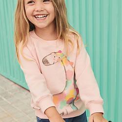 Свитшот для девочки с животным принтом розовый Colorful giraffe Berni Kids (130)