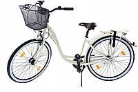 Велосипед жіночий міський Cossack 28 Nexus-3 сталевий crem з кошиком Польща