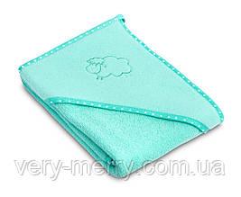 Дитячий махровий рушник з куточком Sensillo Sheep Aqua