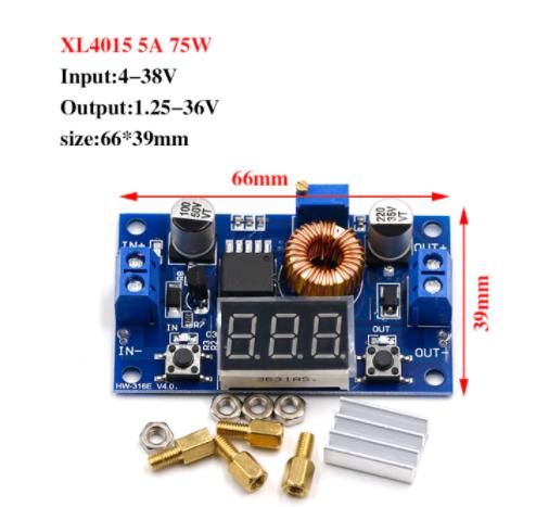 Понижуючий перетворювач+світлодіодний вольтметр XL4015 5А DC-DC 1.25-36V