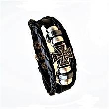 Браслет шкіряний вінтажний з підвіскою - Мальтійським хрестом Type V, Black