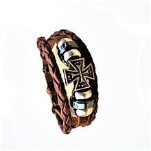 Браслет шкіряний вінтажний з підвіскою - Мальтійським хрестом Type V, Brown