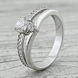 Кольцо серебряное женское ps10364r вставка белые фианиты размер 18.5