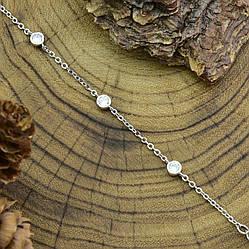 Серебряный браслет родированный ширина 2 мм вставка белые фианиты  длина 16+3