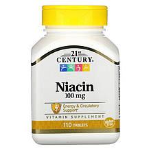 """Ніацин (вітамін В3) 21st Century """"Niacin"""" нікотинова кислота, 100 мг (110 таблеток)"""