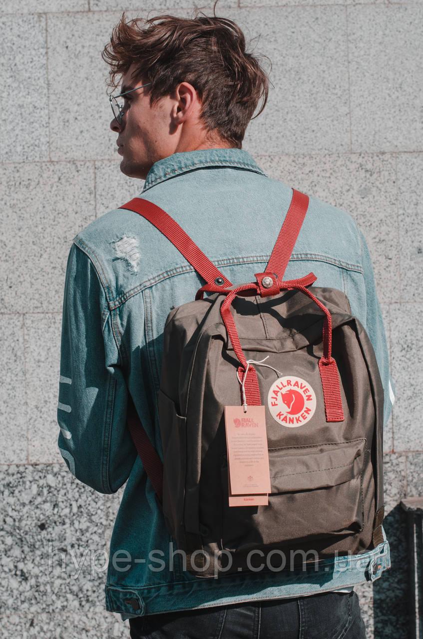 Рюкзак Fjallraven Kanken Classic 16l портфель рюкзак канкен класік хакі з бордовими ручками канкен класик