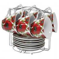 Набор чайный: 6 чашек 220 мл + 6 блюдец Красный мак Оселя