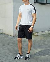 Летний комплект Найк (Nike) белая футболка мужская + чёрные шорты S, M, L, XL