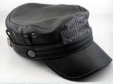 Модель №272 Кожаная байкерская кепка-немка Harley Davidson.