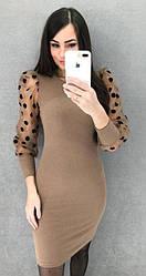 Жіноче плаття з рукавами-ліхтариками в горошок