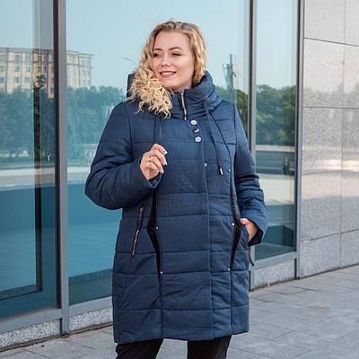 Пальто зимние женские  больших размеров   50-60 темно-синий