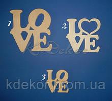 Слово LOVE №3 заготовка для декора