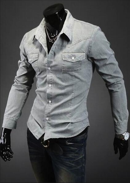 Джинсовая рубашка Zhelin, светло-серая
