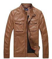 Кожаная мужская куртка JossWhedon (PU кожа), Светло-коричневый