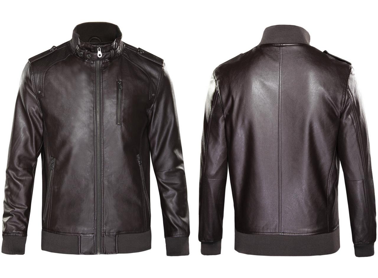 Кожаная мужская куртка Justyle (PU кожа), Коричневый