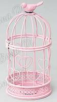 Подсвечник в форме клетки, розовый