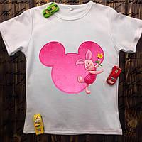 Мужская футболка с принтом - Поросёнок с Микки