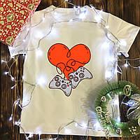 Мужская футболка с принтом - Сердце игроков