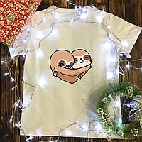 Мужская футболка с принтом - Пара ленивцев