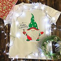 Детская футболка с принтом - Зелёный гном Merry Christmas