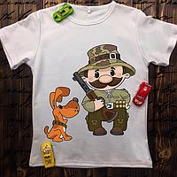 Мужская футболка с принтом - Охотник с собакой