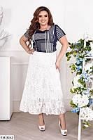 Длинная нарядная гипюровая юбка белая за колено расклешенная трапеция большие размеры р-ры 50-60 арт. 3547