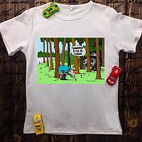 Мужская футболка с принтом - Заманим в лес по глубже