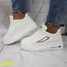 Криперы кроссовки на высокой массивной платформе белые с лого 36, 37, 38, 39, 40, 41 р. (2593)