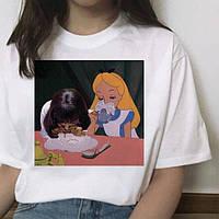 """Женская футболка  из серии принцессы диснея  с накаткой """"Tea Drinking"""". Белый цвет. №02. (Розница)."""
