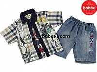 Бабекси.Рубашка (обманка)+джинсовые шорты (полномерный)  1,2,3 года