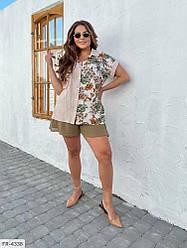 Жіноча коттоновая сорочка двоколірна (Батал)