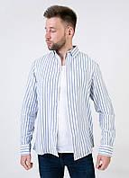 PM4-10128, Рубашка легкая в полоску, мужской, белый-голубой