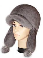 Красивая серо-голубая  шапка ушанка из меха норки