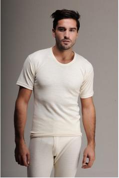 Термобелье мужское шерстяное (футболка) белое 75% шерсти
