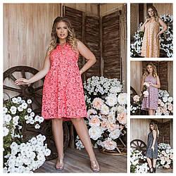 Р 42-56 Літній ошатне плаття трапеція 24152