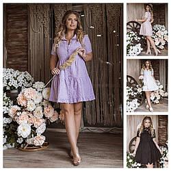 Р 42-54 Літнє плаття-сорочка з прошвы 24153