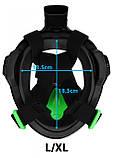 Оригинальная подводная полнолицевая маска для плавания снорклинга ныряния взрослая мужская SportVida, фото 10