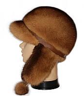 Красивая норковая  шапка ушанка цвет  деграда