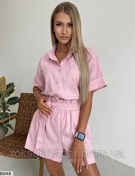 Костюм двойка (рубашка+шорты) из льна розового цвета