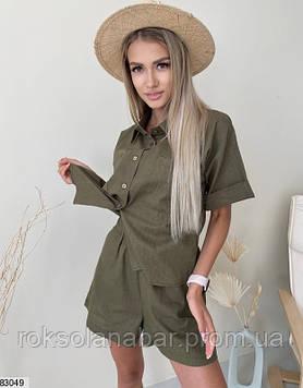Костюм двійка (сорочка + шорти) з льону кольору хакі