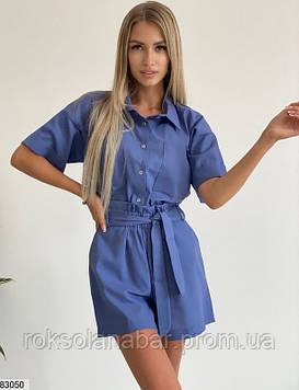 Костюм двойка (рубашка+шорты) из льна синего цвета